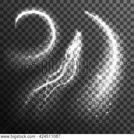 Glitter Particles Black White Set. Glitter Black White Set. Sparkling Transparent Set.glitter Realis