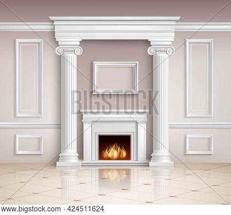Classic Interior With Fireplace. Classic Interior Illustration. Interior Realistic Design. Classic R
