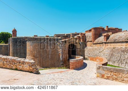 a detail of the fortress Fort de Salses, built in the 15 century, in Salses-le-Chateau, in France