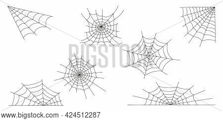 Cobweb Icons Set Isolated On White Background. Spider Web Textures, Elements For Halloween Party Dec