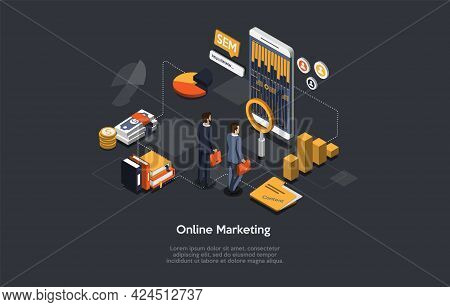 Online Marketing And Advertising Conceptual Design. Modern Remote Internet Work. Isometric Vector Il