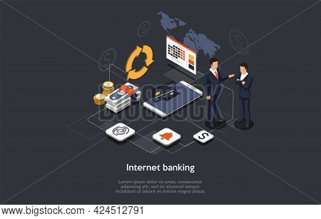 Illustration On Dark Background With Infographic Elements. 3d Style, Isometric Composition. Vector D