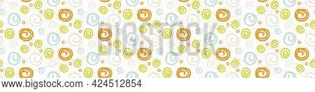 Summer Tropical Circle Seamless Border Pattern. Bright Retro Dot Spot Banner Edge. Fun Gender Neutra