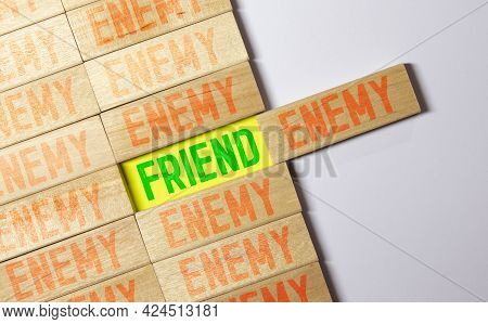 Enemy Word Written On Wood Block, Concept
