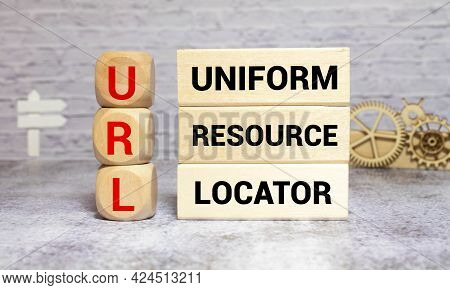 Letters Abbreviation Url Www On Wooden Cubes, On A Dark Background, Light Wooden Cubes Signs, Symbol
