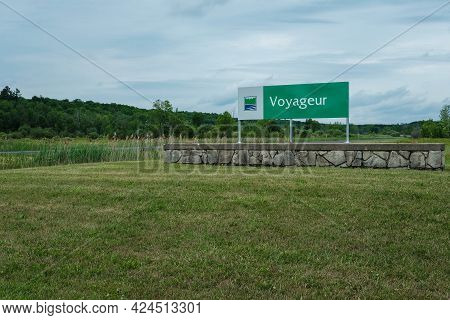 Chute-a-blondeau, Ontario, Canada - June 21, 2021: The Ontario Parks Sign For Voyageur Provincial Pa