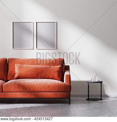 Poster Frames Mock Up With Red Sofa, Black Coffee Table With White Empty Wall With Sun Rays, Raw Con