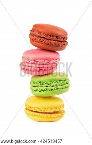 Fresh Macaroons Isolated On White Background. Sweet And Colourful French Macaron.