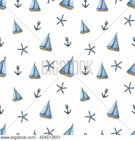 Watercolor Sailboat Seamless Pattern. Sailing Ship, Anchor And Starfish. Nautical Vessel, Yacht With