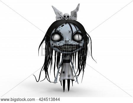 Cartoon Character Horrible Zombie Girl 3d-illustration 3d-rendering.