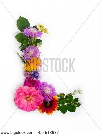 Floral summer font. Concept alphabet design, letter L. Seasonal decorative beautiful type mades of different multi-colored blooming flowers and grass. Natural summertime print