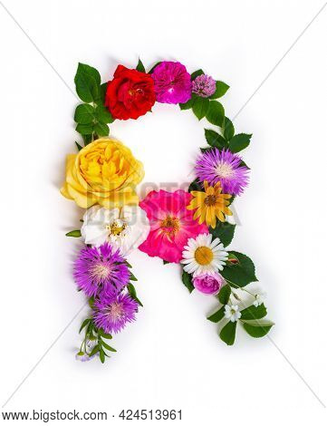Floral summer font. Concept alphabet design, letter R. Seasonal decorative beautiful type mades of different multi-colored blooming flowers and grass. Natural summertime print