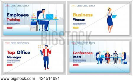 Corporate Lifestyle Landing Page Vector Templates Set. Business Website Interface Idea With Flat Ill