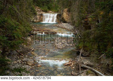 Johnston Canyon Waterfall Canada. Rugged Johnston Canyon In Banff National Park, Alberta, Canada.