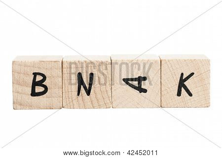 Word Bank Misspelled With Wooden Blocks.