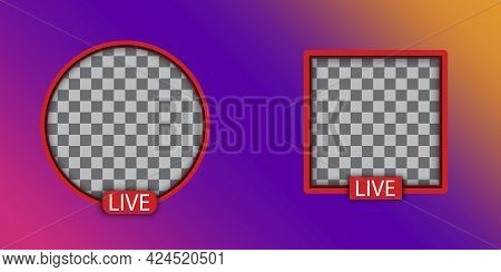 Live Video Streaming. Social Media. Square And Round Live Stream Logo. Social Network. Vector Illust