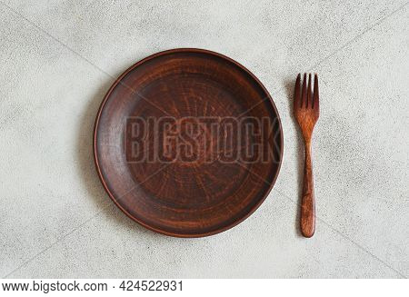 Eco Friendly Handmade Ceramic Tableware Top View With Copy Space For Text And Design, Clay Empty Pla