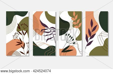 Multicolored Abstract Spots With Leaves And Herbs. A Set Of Templates. Vector Illustration Isolated