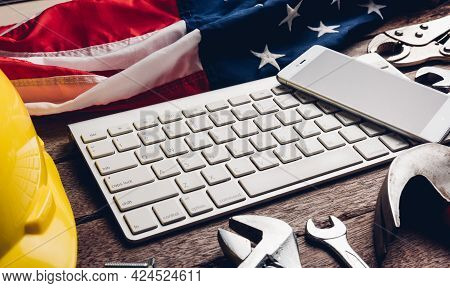 Happy Usa Labor Day, Different Kind Wrenches With American Flag And Smartphone Blank Screen On Keybo