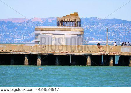 June 8, 2021 In San Francisco, Ca:  Historical Aquatic Pier With Its Art Deco Architectural Design T