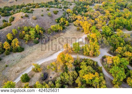 Whitetail Campground in Nebraska National Forest, aerial view of afternoon scenery in early fall