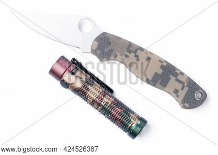 Isolated Packet Knife With Flashlight. Survival Kit. Folding Knife With Flashlight On White Backgrou