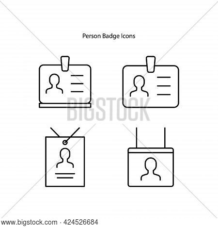 Person Card Line Icon. Linear Style Sign For Mobile Concept And Web Design. Person Badge Outline Vec