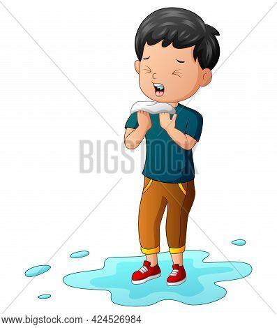 Rainy Season A Boy Caught Flu And Sneezing