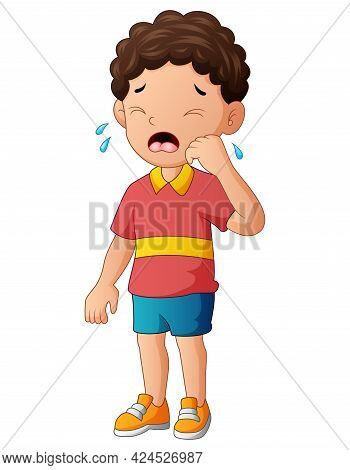 Illustration Of A Young Boy Crying On A White Background
