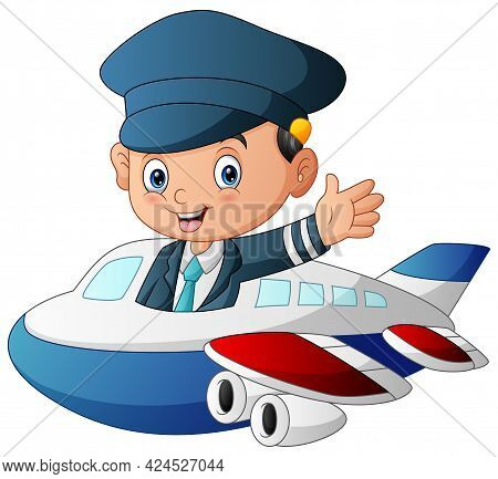 Illustration Of Pilot Flying An Airplane On White Background