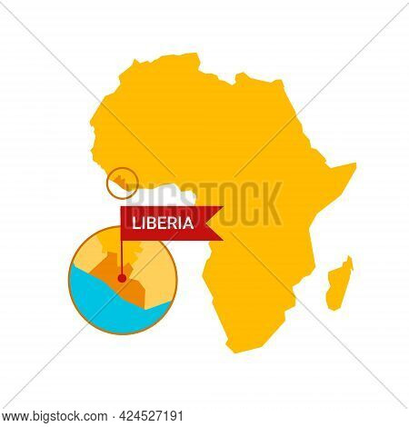 Liberia On An Africa S Map With Word Liberia On A Flag-shaped Marker. Vector Isolated On White.