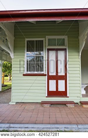 Mackay, Queensland, Australia - June 2021: Entry Door To An Old Railway Train Station Converted Into