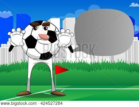 Soccer Ball Is Trying To Scare You. Traditional Football Ball As A Cartoon Character With Face.