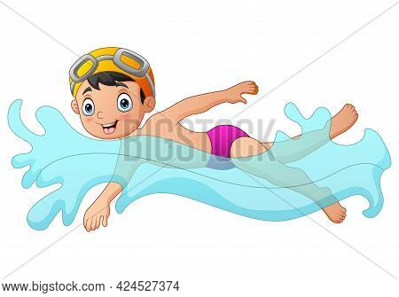 Boy Swimming With Yellow Goggles On A White Background