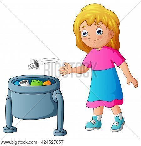 Young Girl Throwing Garbage In Trash Bin