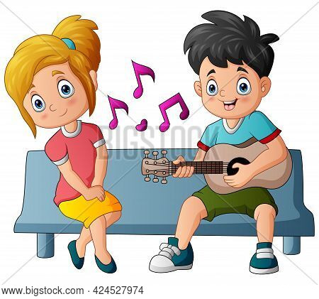 Happy Boy Playing Guitar And Singing To His Girlfriend