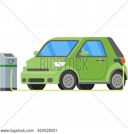 Electric Car Station Charger Vector Icon Illustration