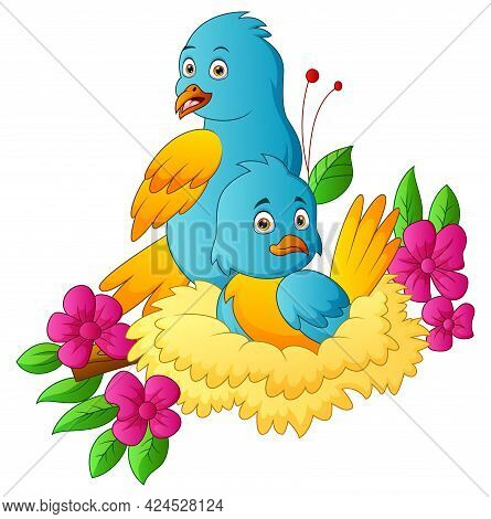 Two  Parrots In The Nestling With A Flowers