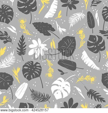 Vector Seamless Pattern Of Tropical Leaves, Plants, Flowers On Grey And Yellow. Beautiful Print With