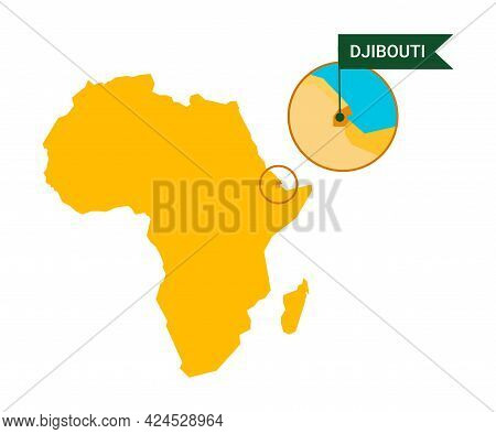 Guinea-bissau On An Africa S Map With Word Guinea-bissau On A Flag-shaped Marker. Vector Isolated On