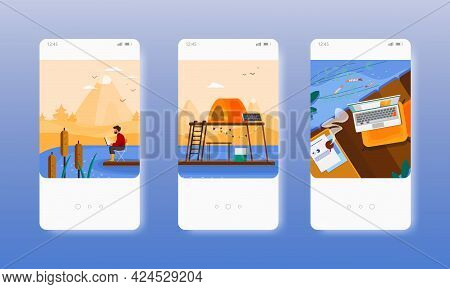 Social Isolation. Man Living Alone In Nature. Mobile App Screens, Vector Website Banner Template. Ui