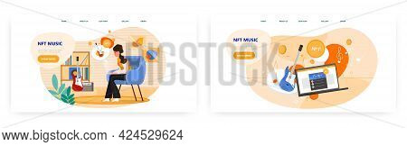 Nft Music Landing Page Design, Website Banner Vector Template Set.