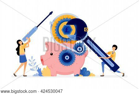 Vector Design Of The Piggy Bank Under Repair. People Want To Save Money In The Bank. Maintenance On