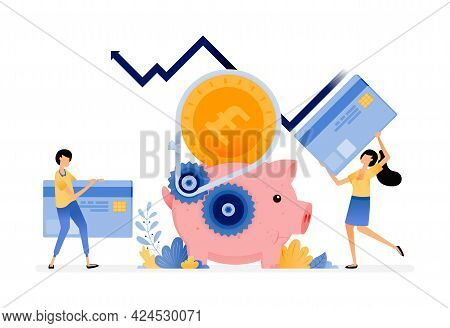 Vector Design Of Economic And Banking System For Saving, Loan, Debt And Consumption. Increase In Cre