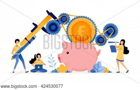 Vector Design Of People Learn To Improve Banking System, Loans And Saving. Economy Education And Fin