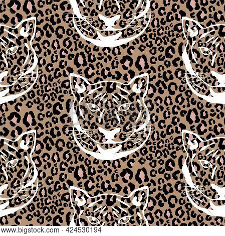 Seamless Pattern With Cheetah Animal Print And Tiger Silhouette. Leopard Wild Cat Brown Spots Skin P