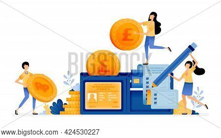 Vector Design Of Wallet Fill With Coins, Bills, Credit Cards. Manage Personal Financial Expenses. Fi