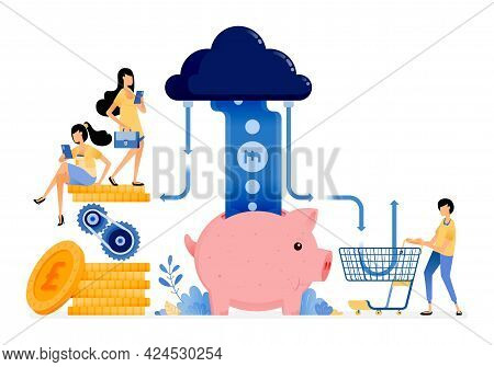 Vector Design Of Financial System For Shopping, Saving And Transactions. Cloud Technology For Bankin