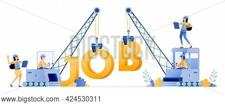 Vector Design Of Job Vacancies For Construction And Property Sector. Excavator Transporting Words Th