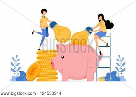 Vector Design Of Idea For Saving And Investment. Light Bulb On Piggy Bank Collect Ideas To Get Profi
